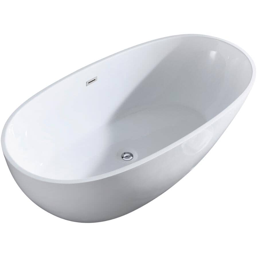 """A&E BATH AND SHOWER:67"""" x 34"""" Alice Deluxe Freestanding Acrylic Tub - White"""