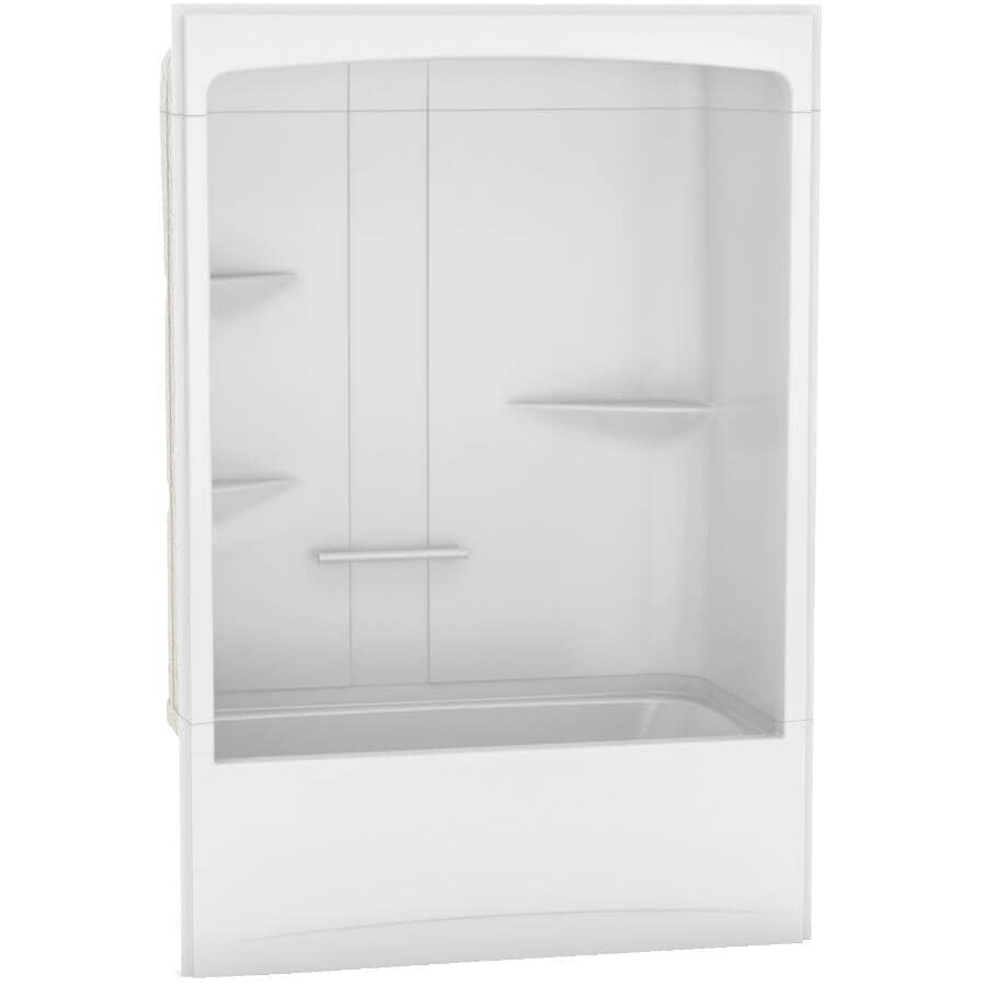 MAAX:Camelia 3 Piece White Acrylic Left Hand Tub and Shower, with Roof Cap