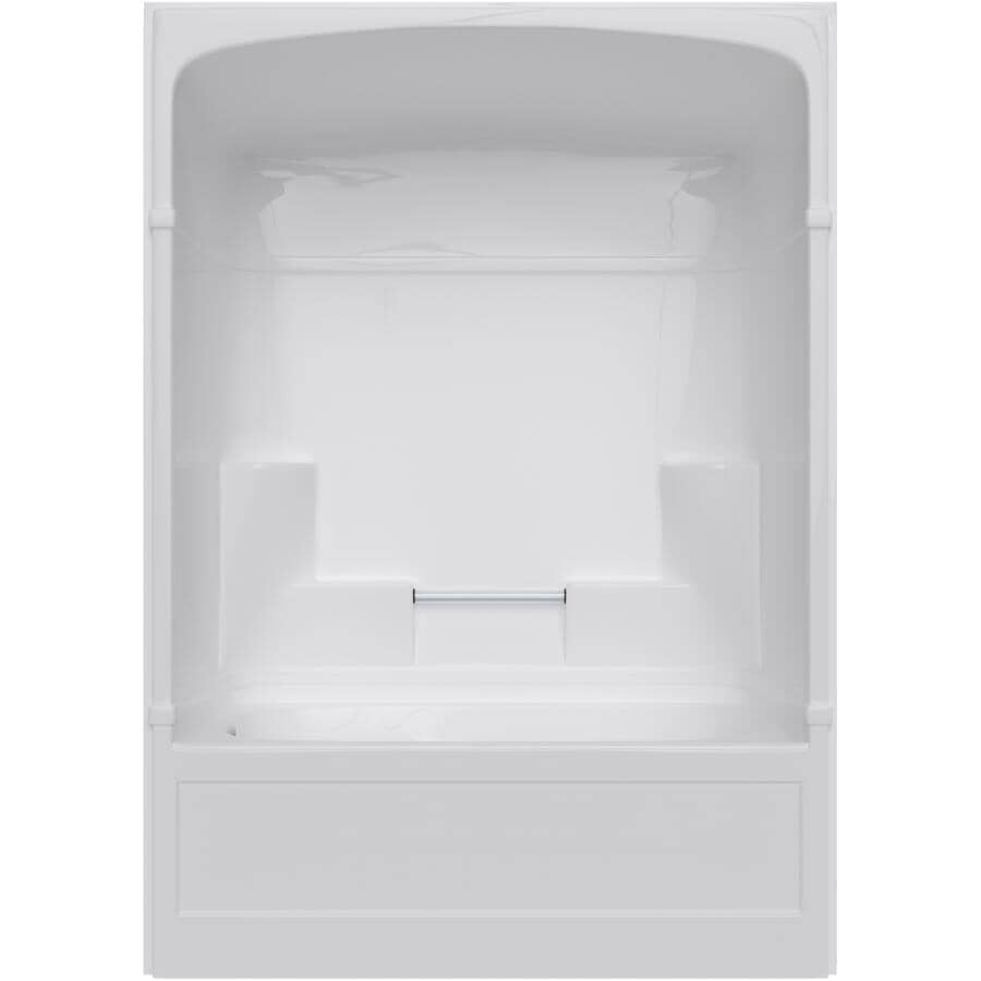 MIROLIN:3 Piece White Acrylic Left Hand Tub and Shower, with Lumbar