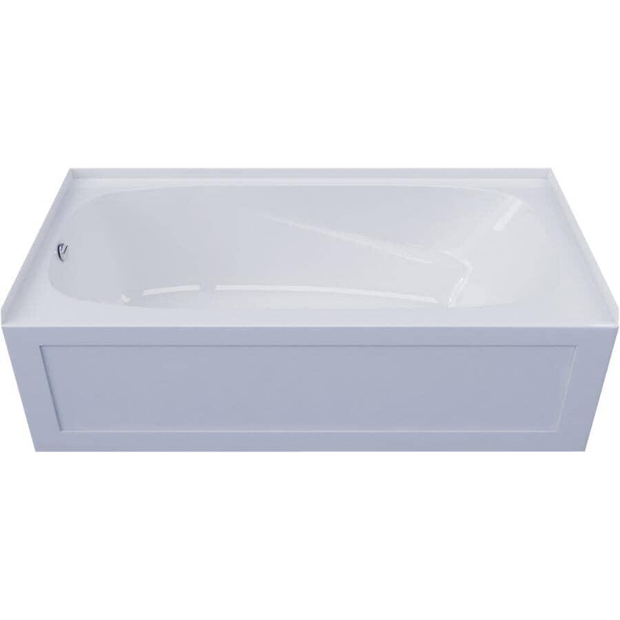 "MIROLIN:60"" x 30"" Phoenix White Left hand Bath Tub"