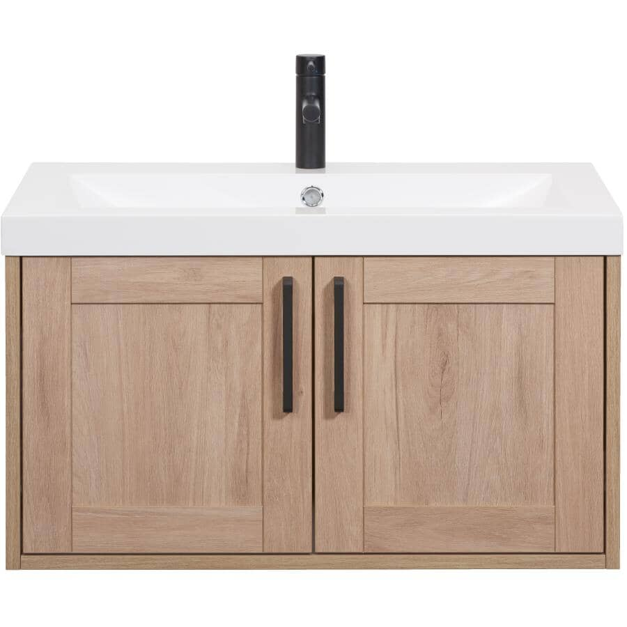 """LUXO MARBRE:30"""" W x 19"""" D Bossy Wall Vanity with Square Synthetic Marble Sink - Birch"""
