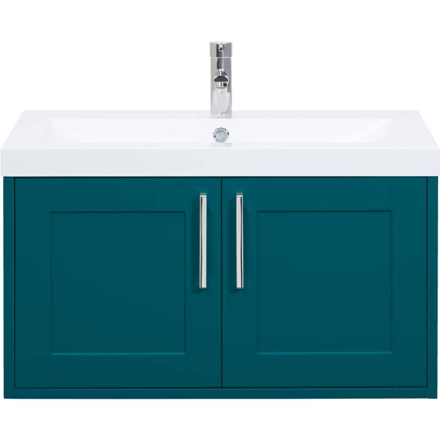 """LUXO MARBRE:30"""" W x 19"""" D Bossy Wall Vanity with Square Synthetic Marble Sink - Dark Teal"""