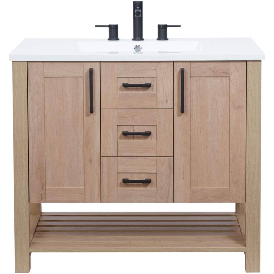 """LUXO MARBRE:36"""" W x 21"""" D Bossy Vanity with Square Synthetic Marble Sink - Birch"""