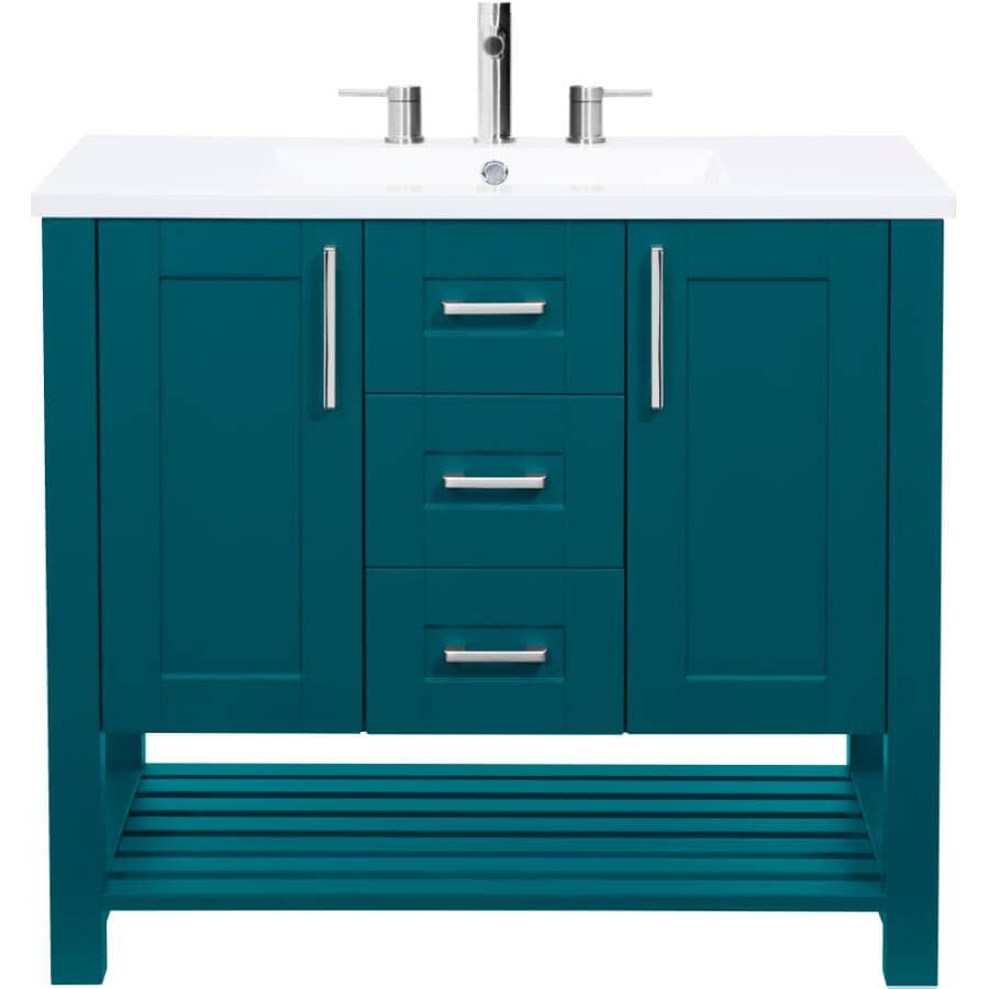 """LUXO MARBRE:36"""" W x 21"""" D Bossy Vanity with Square Synthetic Marble Sink - Dark Teal"""