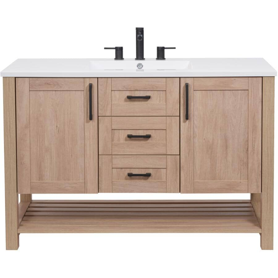 """LUXO MARBRE:48"""" W x 21"""" D Bossy Vanity with Square Synthetic Marble Sink - Birch"""