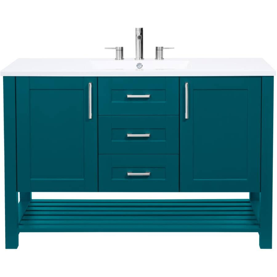 """LUXO MARBRE:48"""" W x 21"""" D Bossy Vanity with Square Synthetic Marble Sink - Dark Teal"""