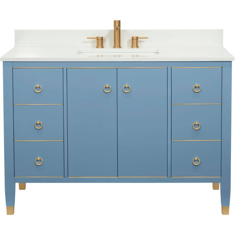 """LUXO MARBRE:49"""" W x 22"""" D Goldy Vanity with Quartz Sink - Country Blue"""