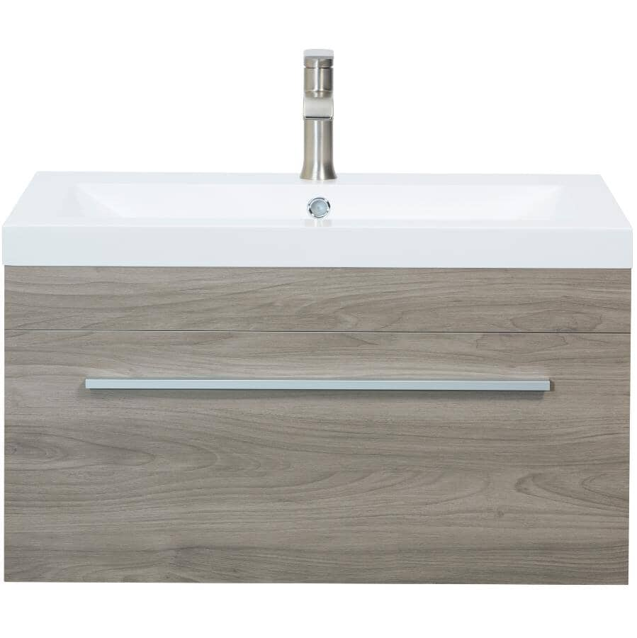 """LUXO MARBRE:30"""" W x 19"""" D Relax Wall Vanity with Synthetic Marble Sink - Pale Grey"""