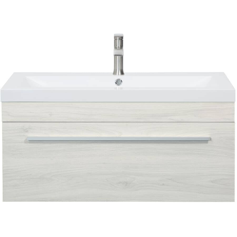 """LUXO MARBRE:36"""" W x 19"""" D Relax Wall Vanity with Synthetic Marble Sink - White"""