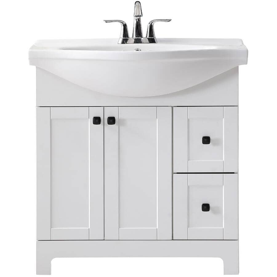 """CHELINI:32"""" W x 12"""" D Clare Vanity with China Top - White"""