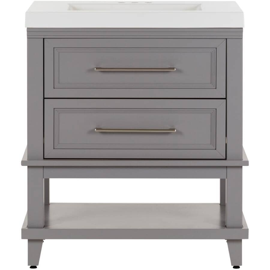 "SCOTT MCGILLIVRAY:30"" W x 18"" D Lakeshore Vanity with Cultured Marble Top - Grey"