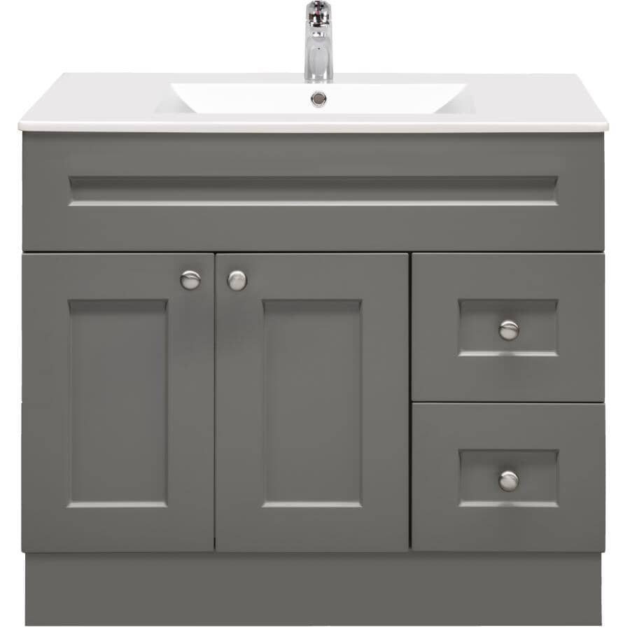 "CUTLER KITCHEN & BATH:36"" W x 21"" D Cambridge Vanity with Cultured Marble Top - Grey"