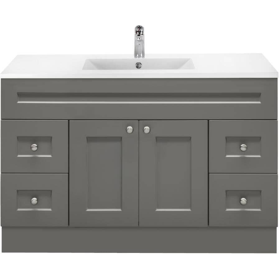 "CUTLER KITCHEN & BATH:42"" W x 21"" D Cambridge Vanity with Cultured Marble Top - Grey"