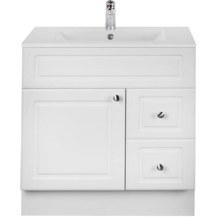 CUTLER KITCHEN & BATH:Meuble-lavabo Halifax blanc avec dessus en similimarbre, 30 po de largeur x 21 po de profondeur