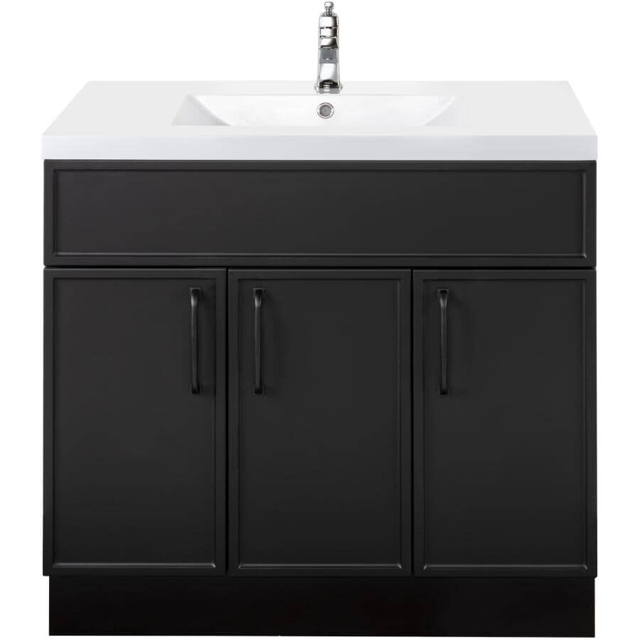 """CUTLER KITCHEN & BATH:36"""" W x 21"""" D Spencer Vanity with Cultured Marble Top - Black"""