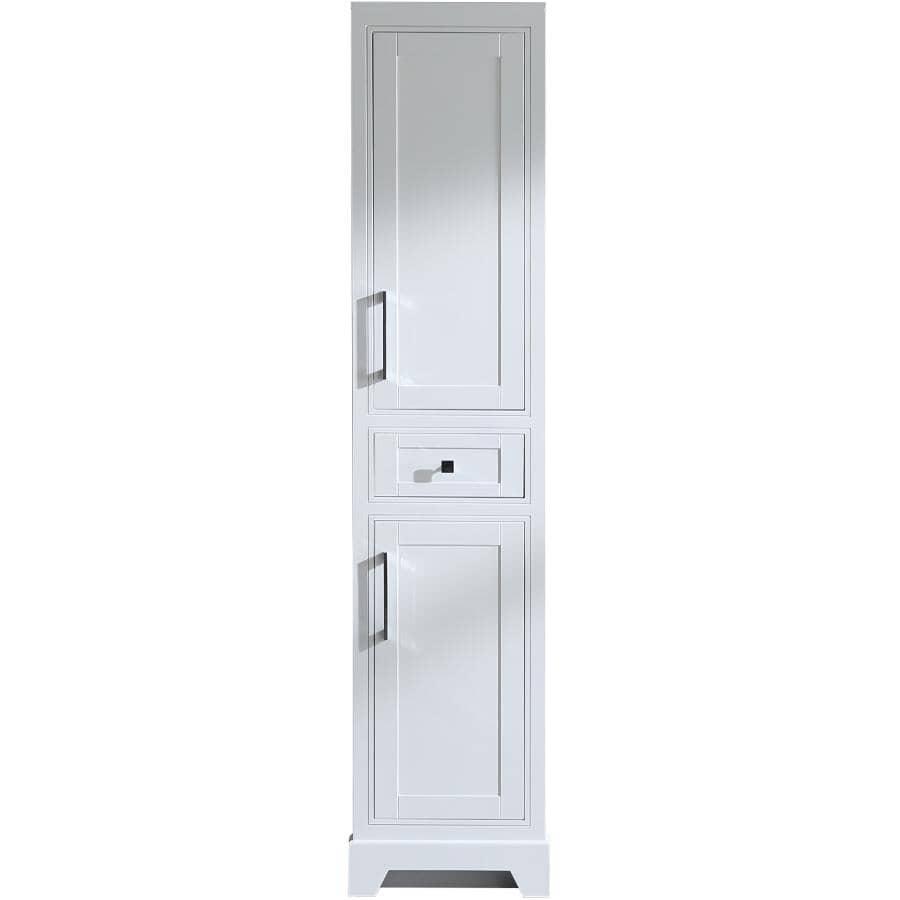 """KLAYR:Soho 2 Door 1 Drawer Linen Tower Cabinet - White + Chrome Hardware, 18"""" x 75"""""""