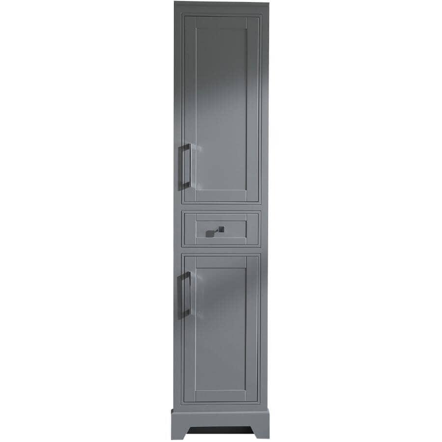"KLAYR:Soho 2 Door 1 Drawer Linen Tower Cabinet - Graphite + Chrome Hardware, 18"" x 75"""