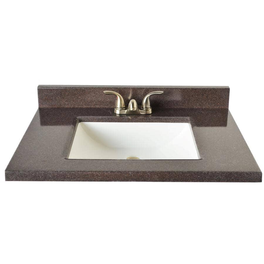 "MATRIX DESIGNS:31"" x 22"" Two Tone Cultured Granite Vanity Top with Rectangular Sink - Espresso & White"