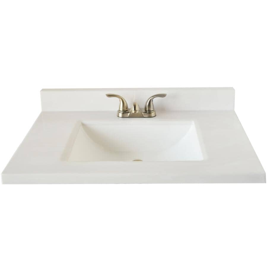 """MATRIX DESIGNS:49"""" x 22"""" Two Tone Cultured Marble Vanity Top with Rectangular Sink - White"""