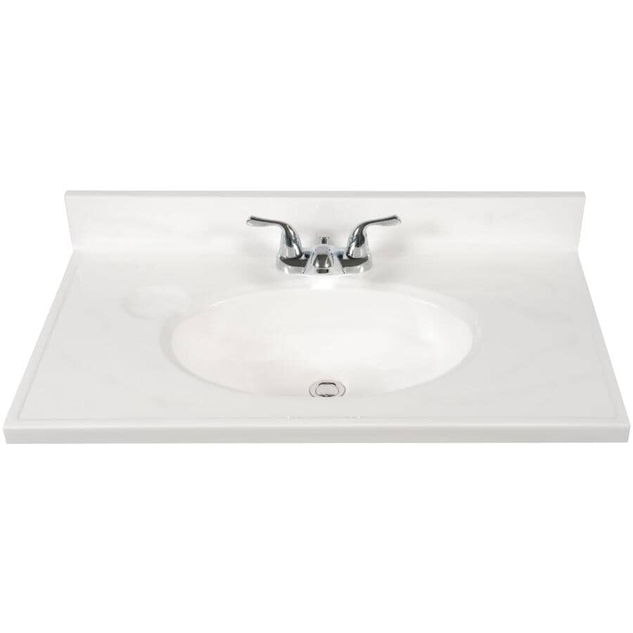 """MATRIX DESIGNS:25"""" x 19"""" Cultured Marble Vanity Top with Oval Sink - White"""