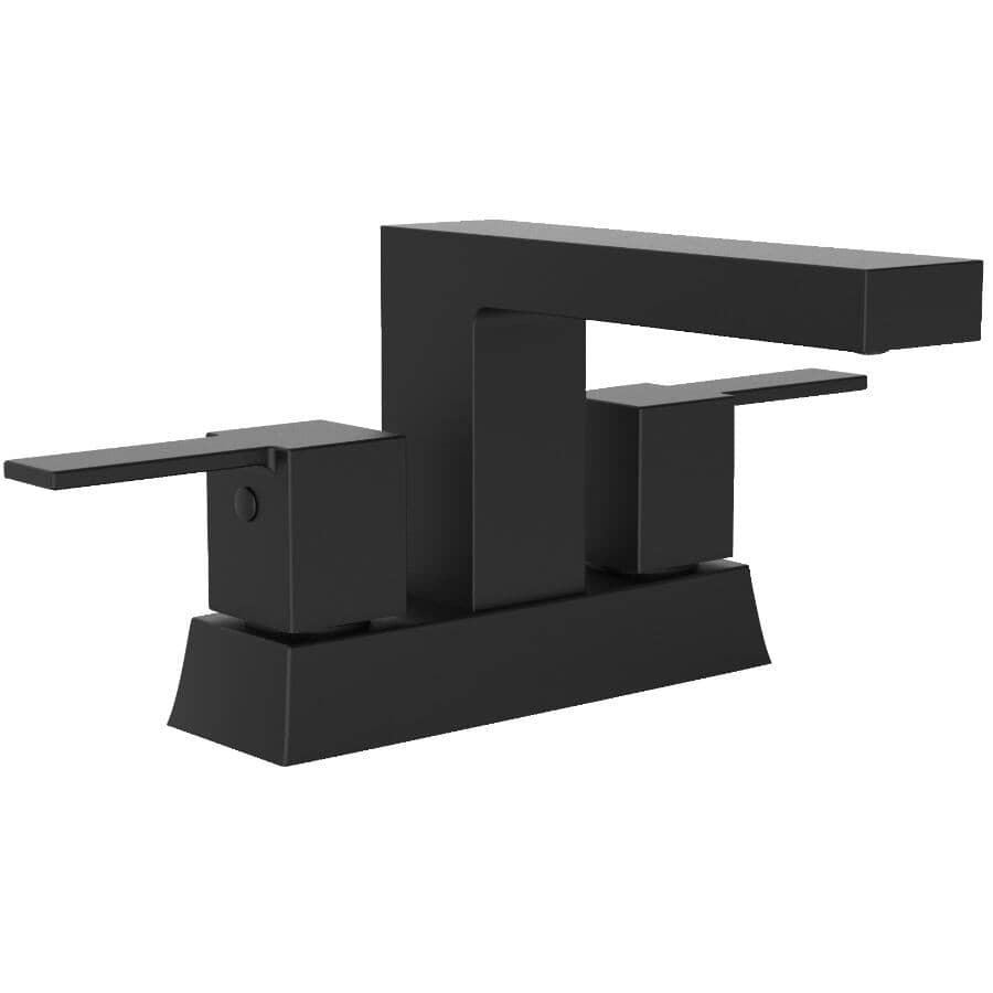 ESSENTIAL:Quadrato Two Handle Lavatory Faucet - with Presto Drain, Matte Black