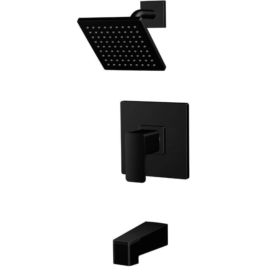 EUROSTREAM:Capriza Single Handle Pressure Balanced Square Design Tub and Shower Faucet - Matte Black
