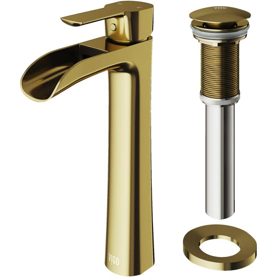VIGO:Niko Single Handle Lavatory Faucet - Matte Gold