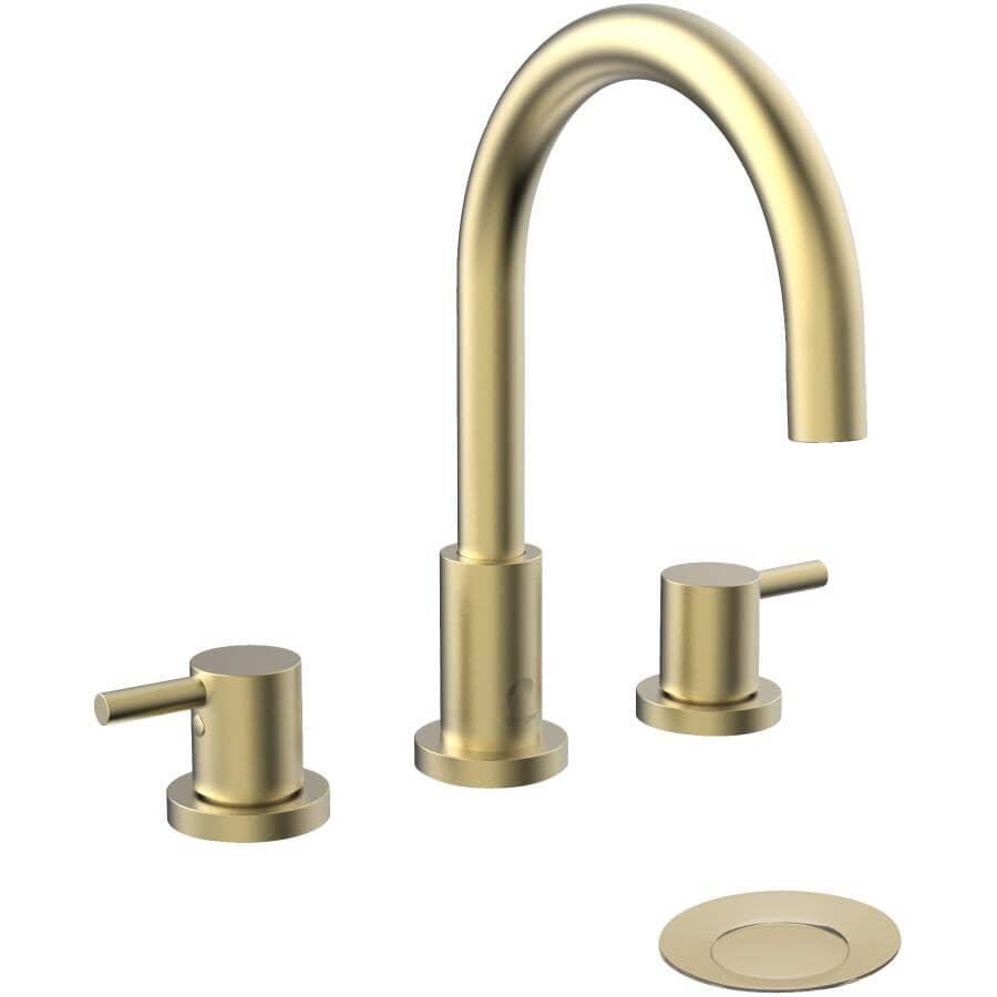 ESSENTIAL:Robinet de lavabo or mat Delphi à 2 leviers et à grand écartement