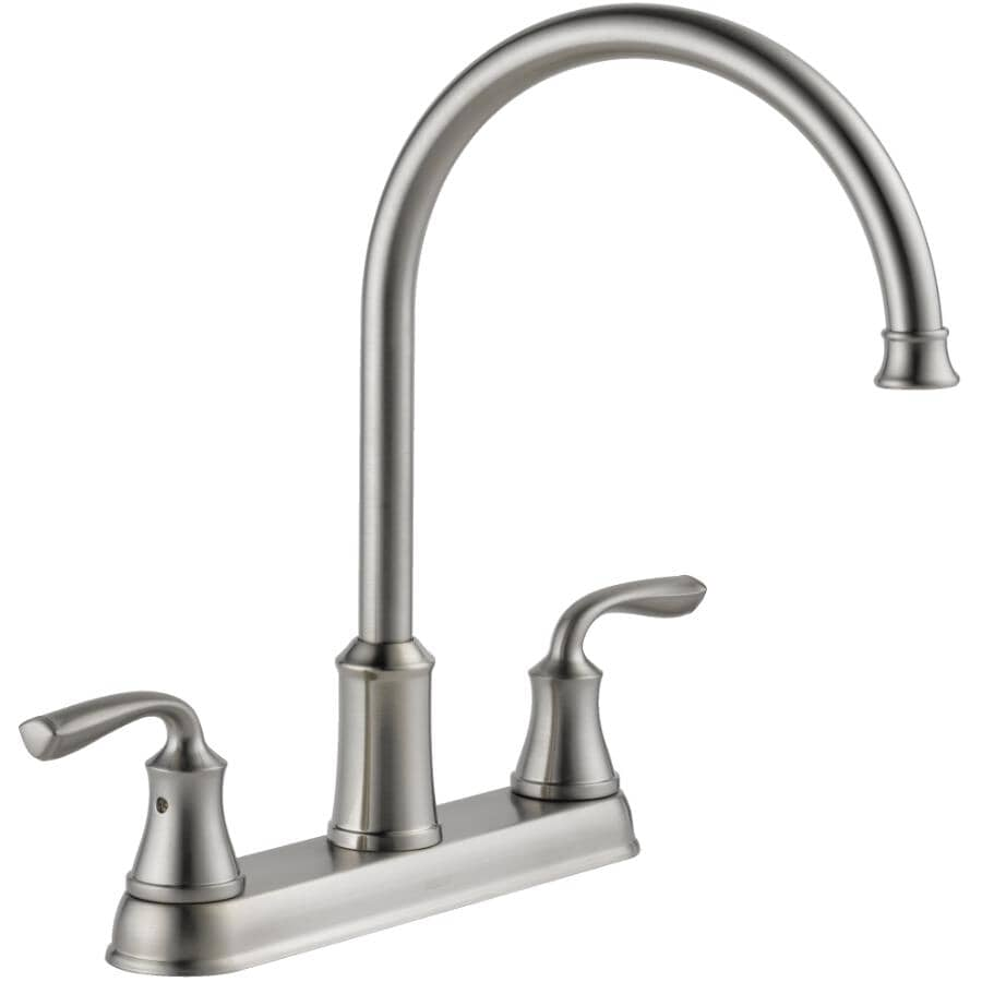 DELTA FAUCET:Lorain Two Handle Kitchen Faucet - Three Holes, Stainless Steel
