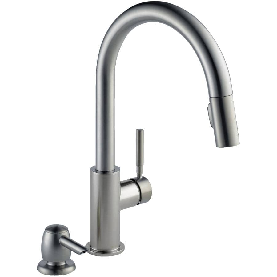 DELTA FAUCET:Trask Pull-Down Single Handle Kitchen Faucet + Soap Dispenser - Spotshield Stainless Steel