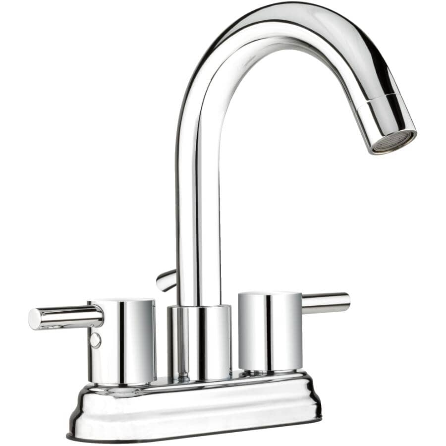 """ESSENTIAL:4"""" Lavatory Faucet with Chrome Lever Handles and Hi-Spout"""