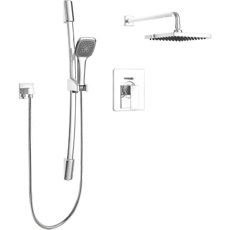 ESSENTIAL:Robinet de douche carré et chromé Quadrato à main et fixe avec pression équilibrée et jet de pluie sur barre coulissante
