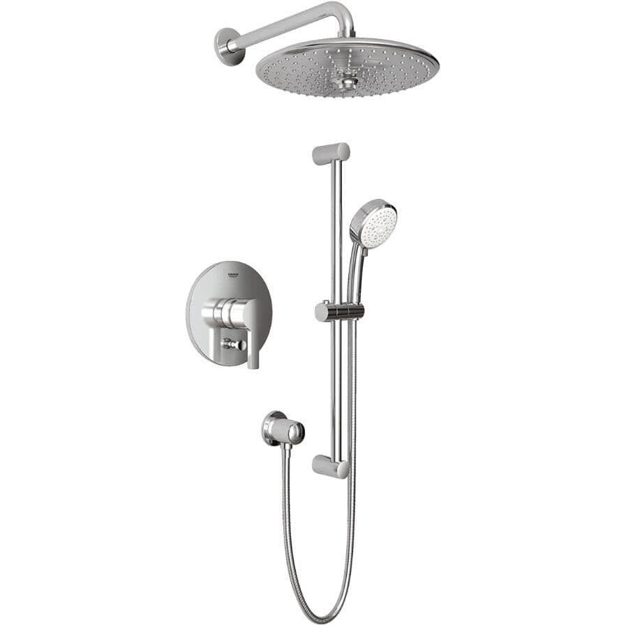 GROHE:Chrome Pressure Balanced Shower Faucet with Rainhead, Handshower, Elbow and Slide