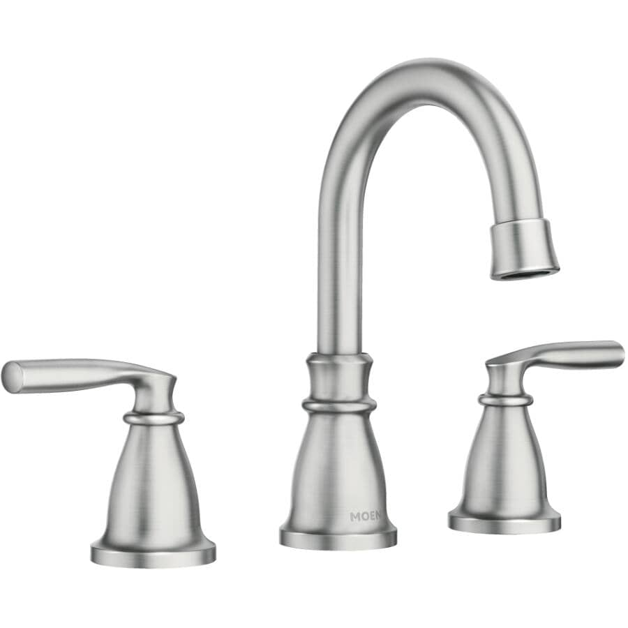 MOEN:Hilliard Widespread 3 Hole Spot Resistant Brushed Nickel 2 Lever Handle Lavatory Faucet