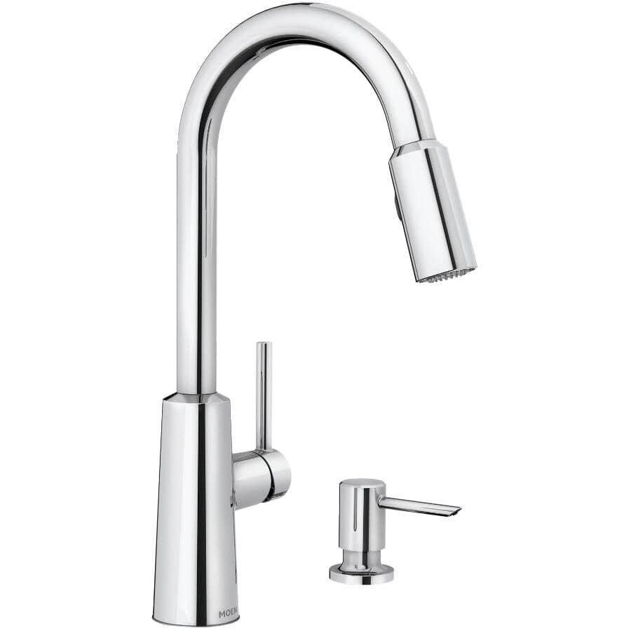 MOEN:Nori Pulldown Kitchen Faucet - with Soap Dispenser + Single Lever + Chrome