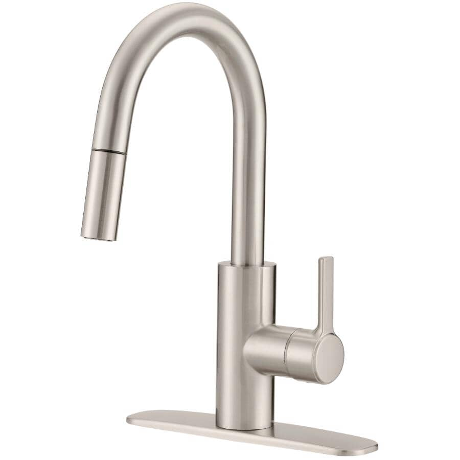 EUROSTREAM:Adessa Single Handle 1+3 Hole Pulldown Faucet Deck - Brushed Nickel