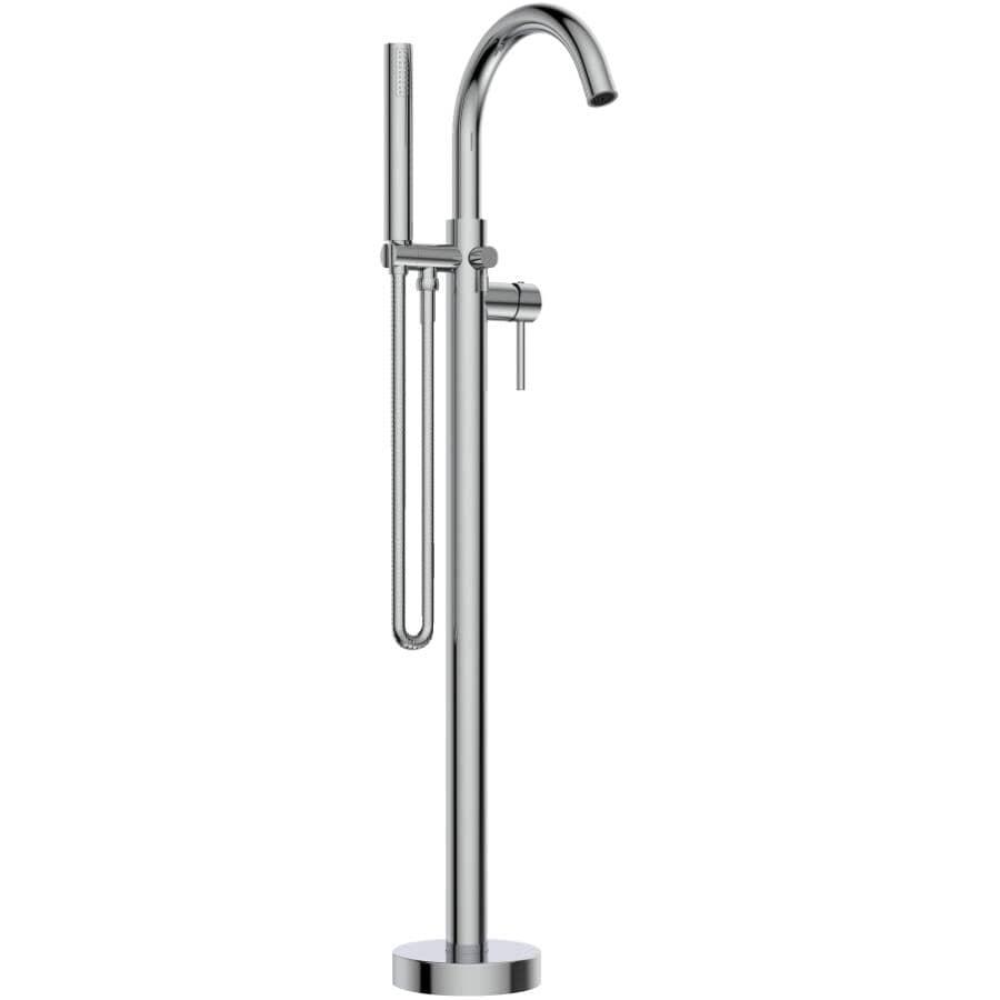 ESSENTIAL:Robinet chromé avec douche à main, pour baignoire autoportante