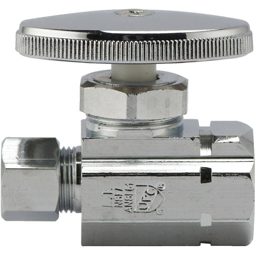 """HOME PLUMBER:1/2"""" Female Iron Pipe x 3/8"""" Outside Diameter Compression Straight Stop Valve"""