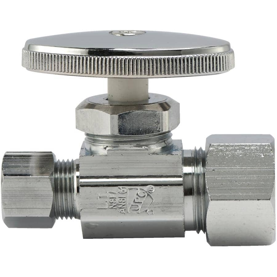 """HOME PLUMBER:1/2"""" Copper x 3/8"""" Outside Diameter Compression Straight Stop Valve"""