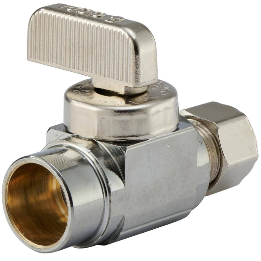 """DAHL:1/2"""" Copper x 3/8"""" Outside Diameter Compression Plated Straight Valve"""