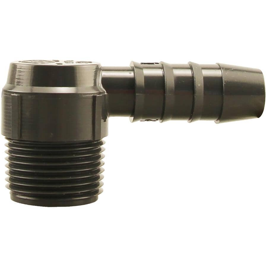 """PLUMB-EEZE:1/2"""" Insert x 3/4'' Male Pipe Thread Poly Elbow"""