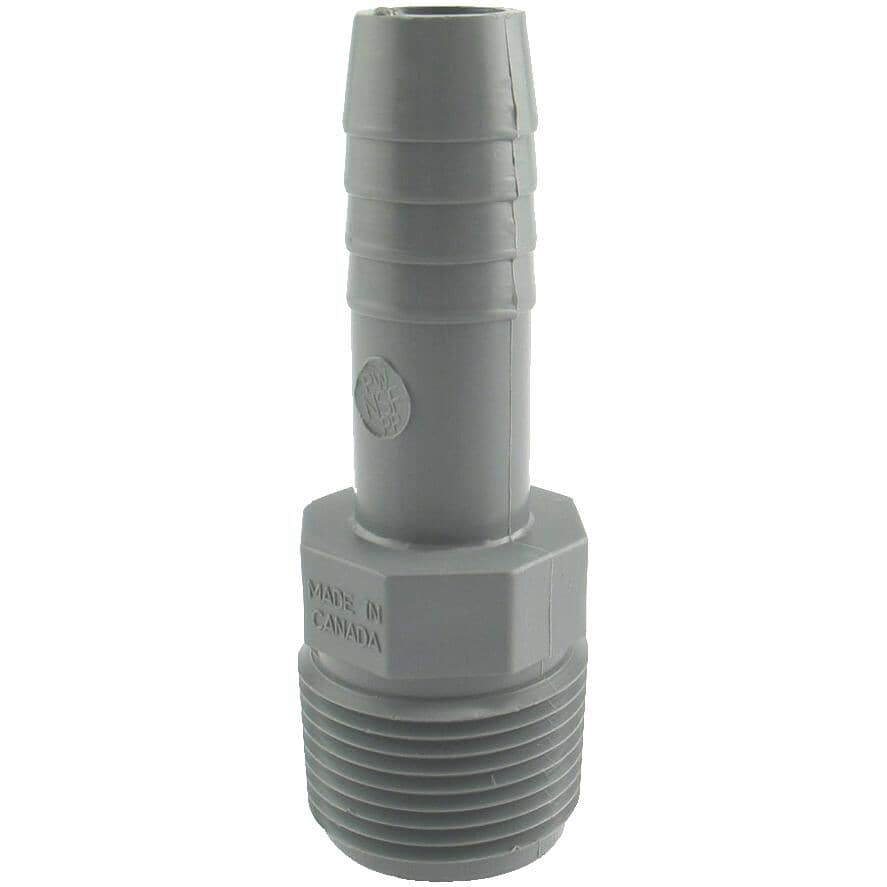 """PLUMB-EEZE:1/2"""" Insert x 3/4"""" Male Pipe Thread Poly Adapter"""