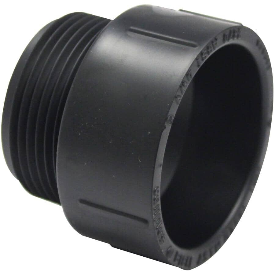 "CANPLAS:1-1/4"" Male Pipe Thread x Hub ABS Adapter"