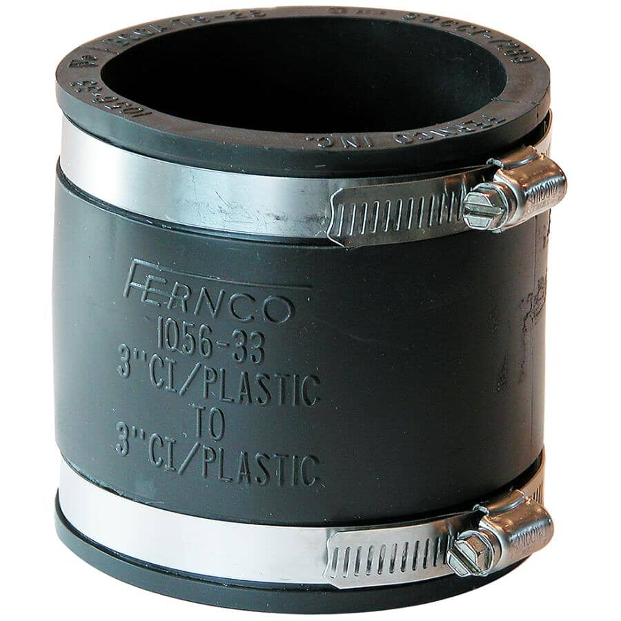 """FERNCO:3"""" x 3"""" Plastic to Cast Iron Adjustable ABS Coupling"""