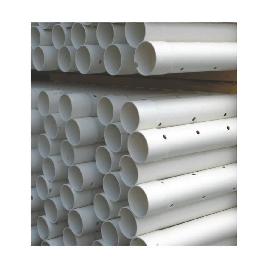 """ROYAL BUILDING PRODUCTS:4"""" x 10' Perforated PVC Sewer Pipe for use in Nova Scotia"""