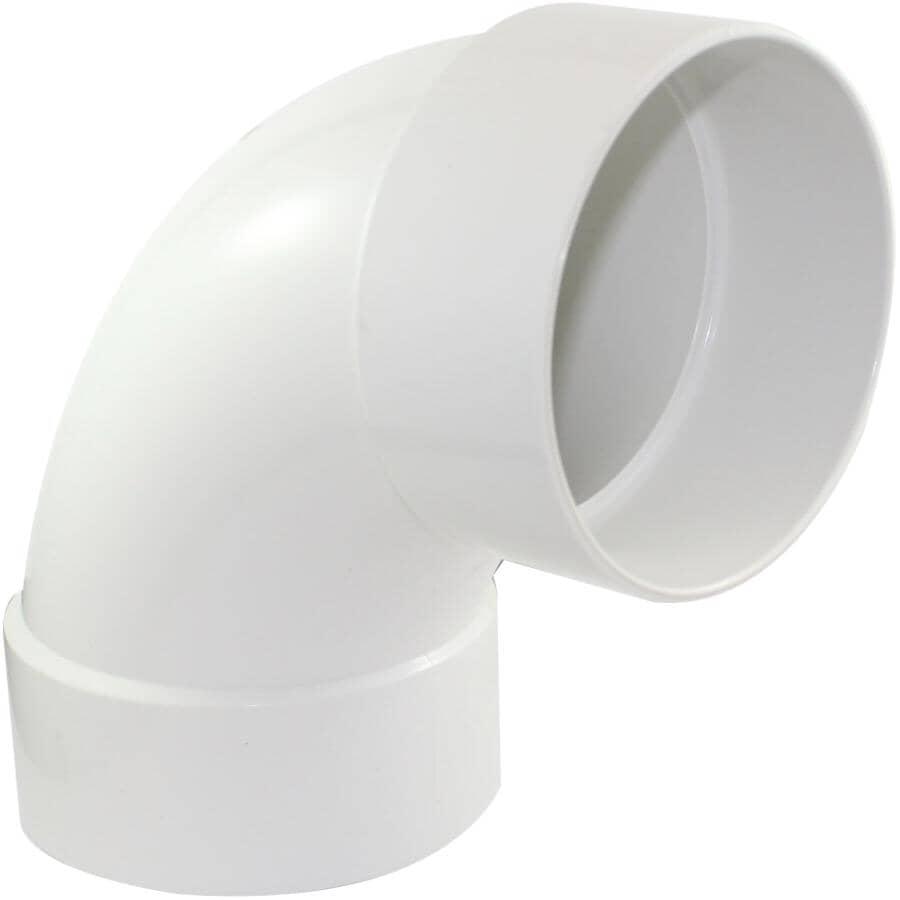 """CANPLAS:4"""" Hub x Hub 90 Degree PVC Long Sweep Sewer Elbow"""