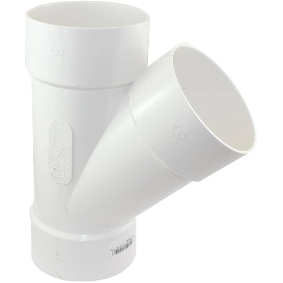 "CANPLAS:3"" 45 Degree PVC Sewer Wye"
