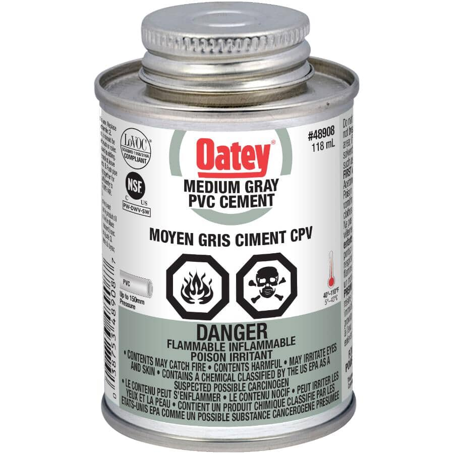 OATEY:118mL Grey PVC Cement, with Dabber