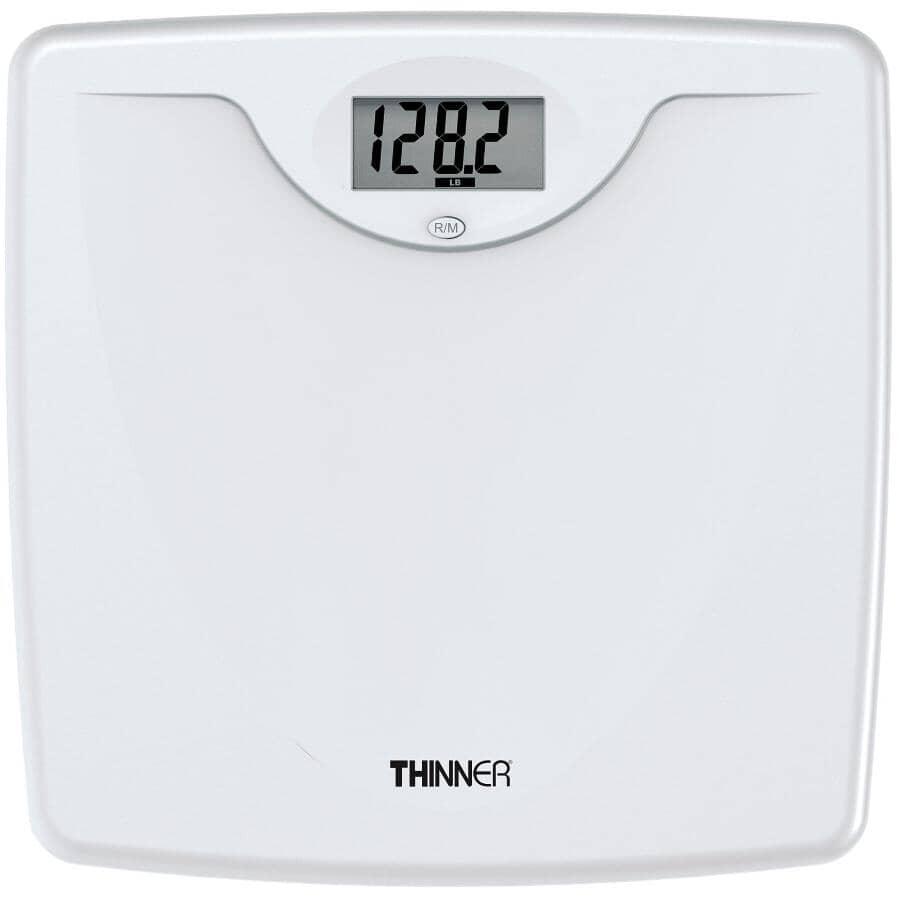 THINNER:Pèse-personne numérique blanc, capacité de 330 lb