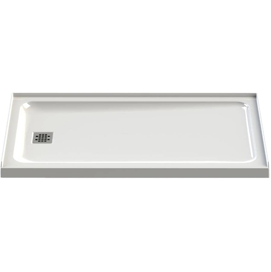 """MAAX:60"""" x 32"""" Olympia Shower Base with Left Hand Drain - White"""